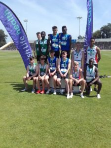 Mervyn, Luke and cillian on the winning step for Munster 4 x 100m glory at the Tailtean Games.