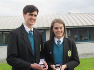 Darragh Clarke winner of the Principal's Award and Lauren O Grady, winner of the Catherine McAuley award.