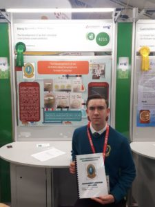 Robin won a Highly Commended Award at the Young Scientist exhibition 2018.