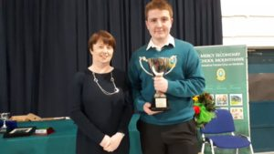 U.C.C Cup Award Winner Thomas White with Ms Farrell