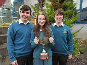 Diarmuid Moriarty, Grace Egan, Marcus O''Brien ISTA Kerry Senior Science Quiz winners 2014