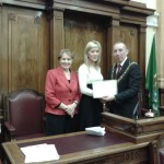 Ms Veronica Hunt receives a special award from Sr. Stanislaus and John Buttimer, Mayor of Cork, March 2013
