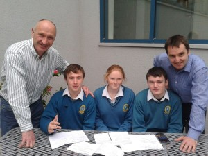 Mr Stack, Liam Gannon, Áine Daly, Donal Mullins and Mr Lyne (missing: Michael Grimes)