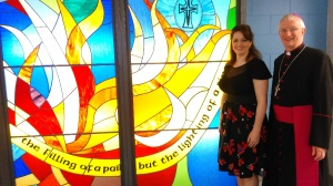 Artist Mary J Leen and Bishop Ray with the new stained glass feature in the Centenary Building